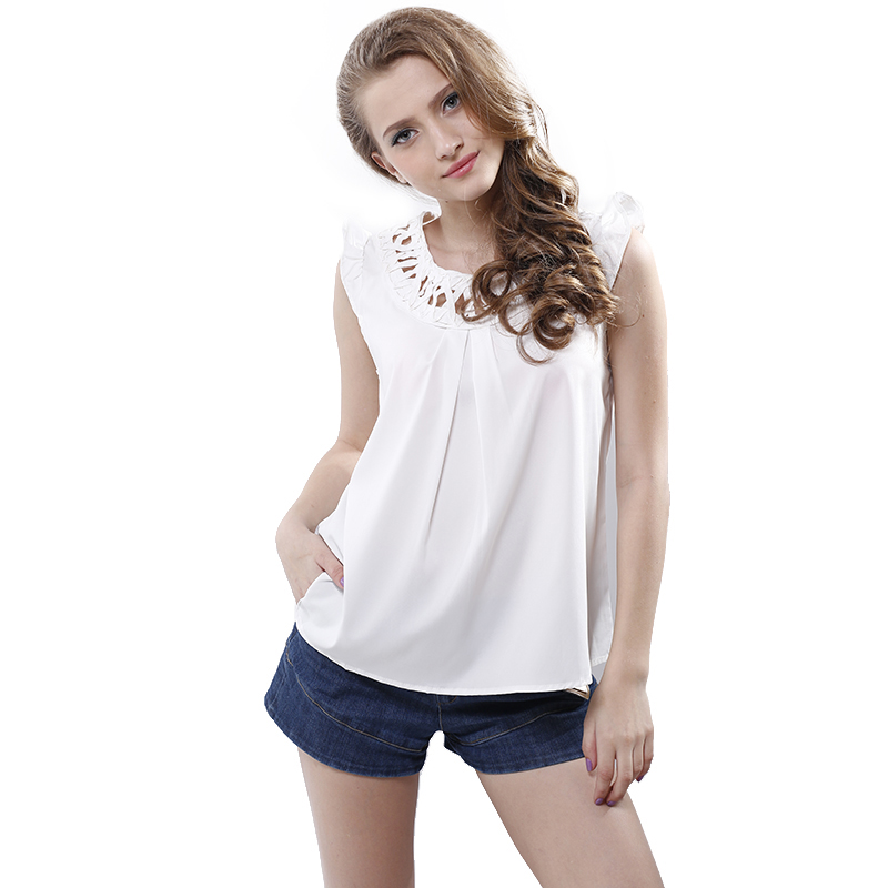 Summer ol ladies hollow out blouse o neck sleeveless solid for Sleeveless shirts for ladies