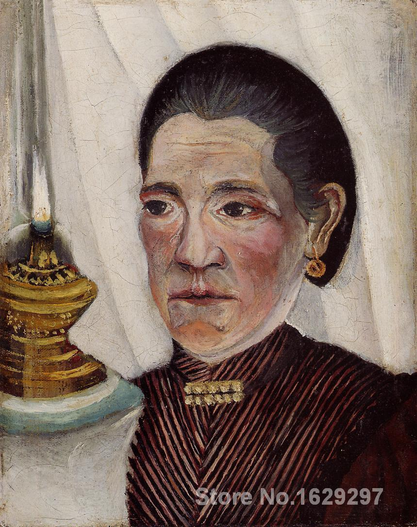 Portrait of the Artist s Second Wife with a Lamp-Henri Rousseau painting for sale,Hand-painted,High quality(China (Mainland))