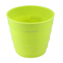 135mm x 120mm Plastic Stripe Printed Garden Flower Pot Mini Home Decor Green Discount 50(China (Mainland))