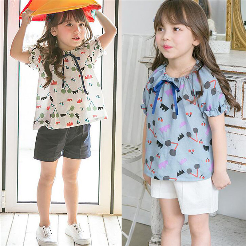 Baby Girls Shirts Infant Kids Ruffles print style Blouse Newborn Baby Cotton Lovely Shirt for Girls lolita pastoralism