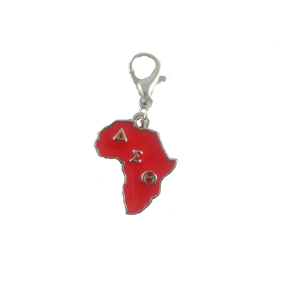 Greek delta sigma theta sorority red africa map dangle for Delta sigma theta jewelry