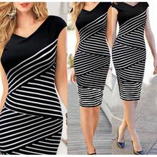 Buy 2016 Sexy Elegant V-Neck Striped Women Bodycon Pencil Dress Office Party Women Dresses Vestidos De Festa Girl Summer Dress for $10.55 in AliExpress store