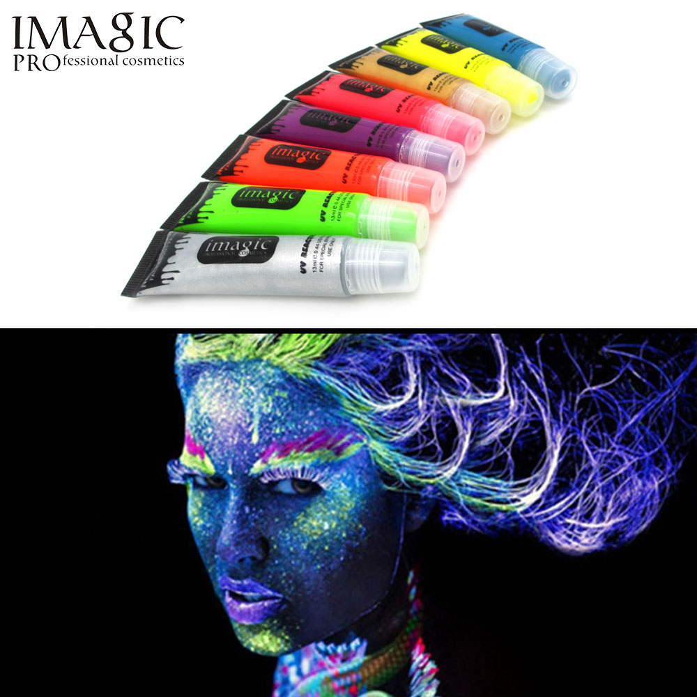 IMAGIC neon UV light face and body painting body painting paint fluorescent paint Carnival body painted 8 color(China (Mainland))