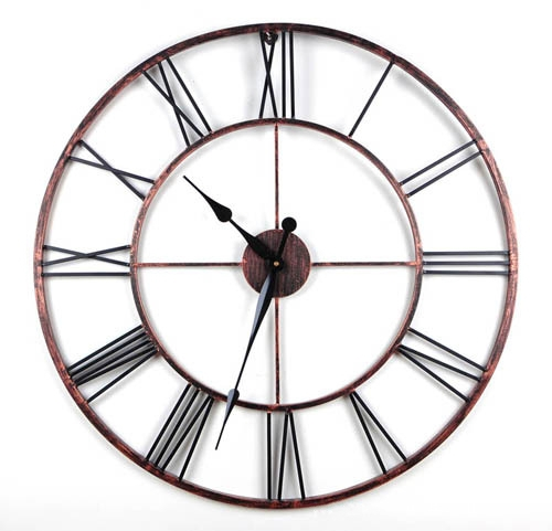 Stylish 20 inch Country Style Metal Hollow Wall Clock Vintage Round Quartz Classic Oversize Circular  -  JCFY SPECIAL DESIGN store