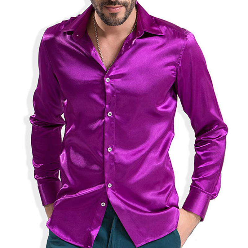 2016 Fashion Shiny Silky Satin Dress Shirt Luxury Silk