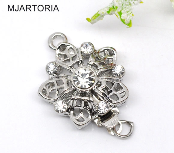 Vintage Jewelry Fittings 10 Sets Flower Rhinestone Pinch Push Clasps 22x17mm Hot Sale Jewelry Connectors(China (Mainland))
