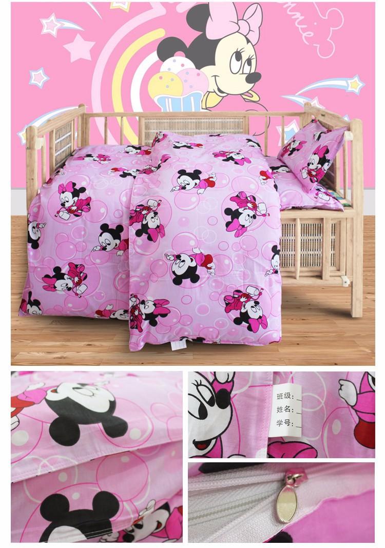 Малыш минни мультфильм простыня наволочка 100% хлопок постельных принадлежностей для кроватки, 1 компл. = 3 шт.