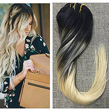 Full Shine One Piece Clip in Human Hair Extensions Ombre Color 1B Fading to 613 Two Tone Color 100 Real Human Hair Clip ins