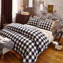 Plaid Bedding Set Cotton Duvet Cover Set Bedspread Fitted Flat Sheet Pillow Cases Mattress Cover Home Textile(China (Mainland))