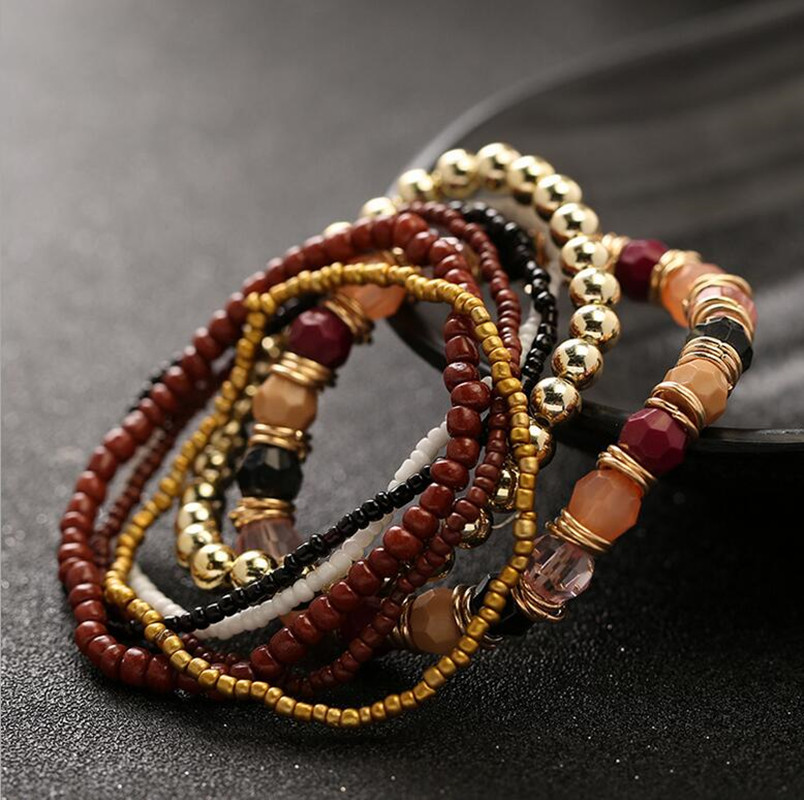 Bohemian Multilayer Candy Color Beads Tassels Bracelet Bangles For Women Elastic Stretch Jewelry(China (Mainland))