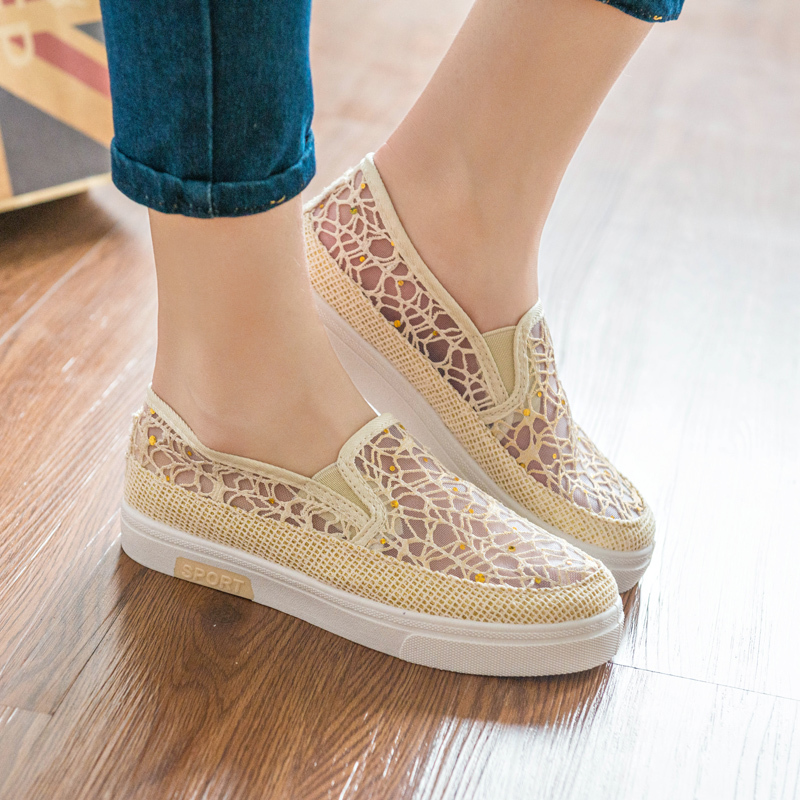 2015 new summer style women sandals sweet slip on casual flats sole-upper breathable air mesh shoes for ladies(China (Mainland))