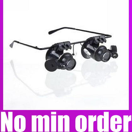 Wholesale Loupe Lens 20X Magnifier Magnifying Eye Glasses Jeweler Watch Repair LED Light Glasses Free Shipping(China (Mainland))