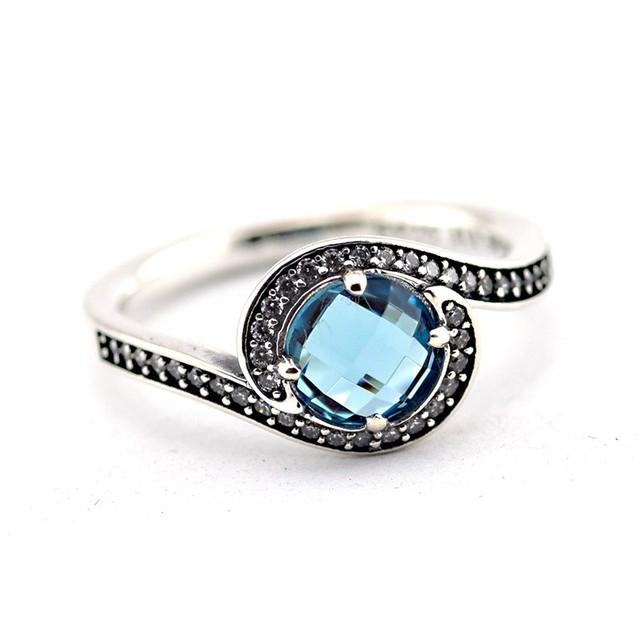 925-Sterling-Silver радиант-линия украшение голубой кристалл кольцо , совместимой с ювелирные изделия мода женщин RIing ювелирных изделий