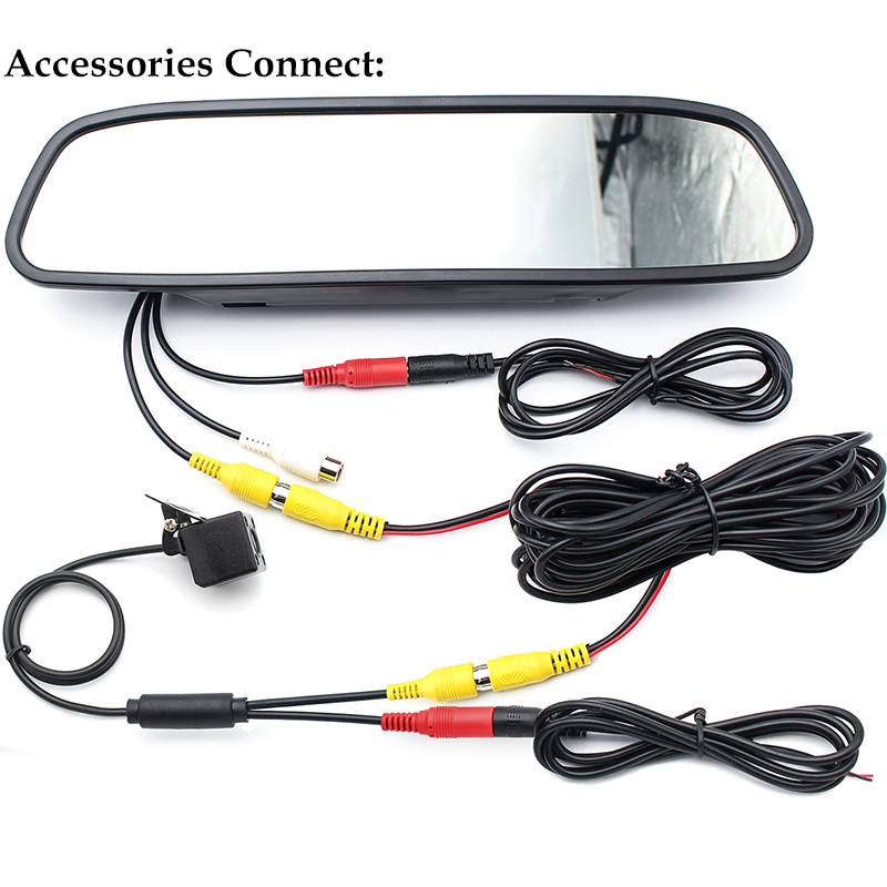 HD Video Auto Parking Monitor LED Night Vision Glass Lens CCD Car Rear View Camera With 4.3 inch Car Rearview Mirror Monitor