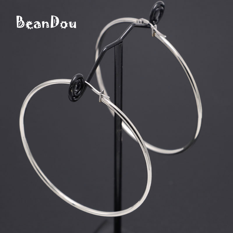 Fashion Small Big Hoop Earrings Stainless Steel Simple Round Earrings 15mm-60mm 6 Sizes Anti-allergic Sexy Jewelry Women Girls