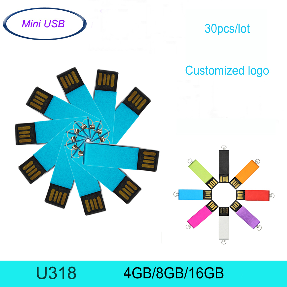 30pcs/lot Super Tiny Waterproof USB Flash Drive Pen Drives 16GB 8GB 4GB Costomized Logo Mini USB Memory Stick Thumb Drive(China (Mainland))