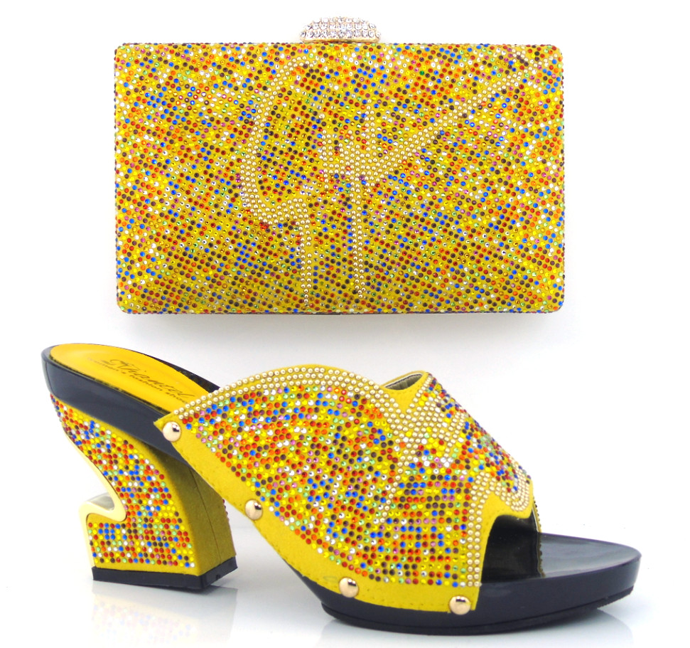 YELLOW shoes and bag set with stone Italian Matching Shoes and Bags Wedding Shoes and Matching Bag for wedding,TH16-01<br><br>Aliexpress