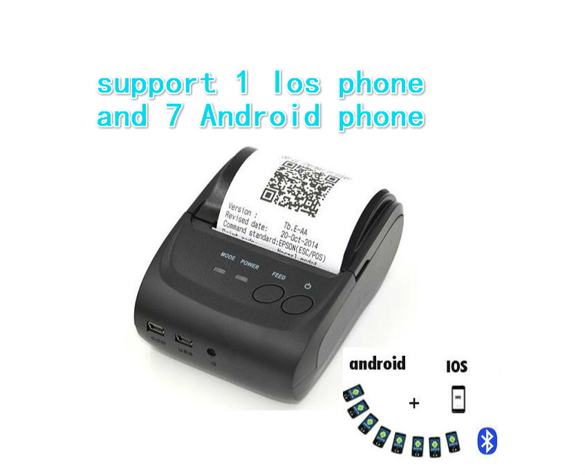 58mm Portable POS Printer Thermal,2 inch mini Portable Bluetooth mobile Thermal  android Printer support QR Code and Barcode<br><br>Aliexpress