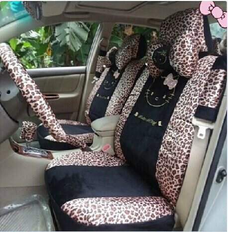 Leopard print Hello Kitty South Korea silk car seat covers 18 general sit chair - Automobile service stations store