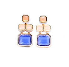E00389 Manufacture High Quality Factory Costume Jewelry Friendly Women Wholesale Gold Plated Dangle Drop Purple Earrings(China (Mainland))