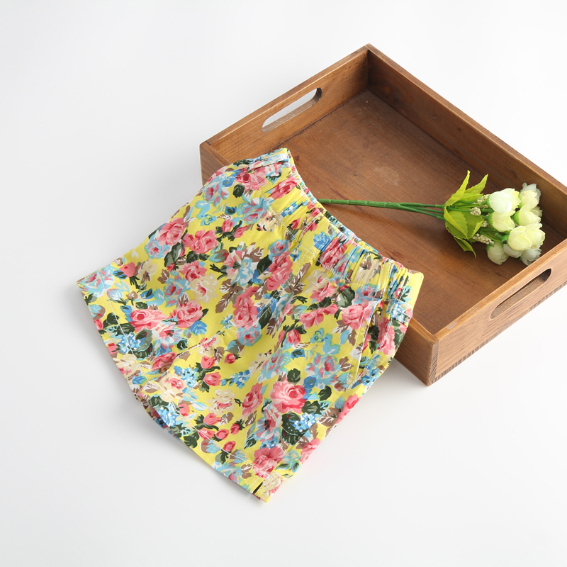 2014 new summer Children Kids Beach Jeans Shorts Red/white/yellow 3 colors Fashion Casual Print Girls Denim Flower - Shanghai Ruixu trade Co., Ltd store