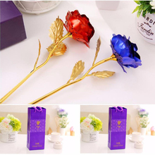 24K Gold Plated Foil Real Rose Flower Romantic Rose Flower For Anniversary Valentine Day Mother Lover Gift(China (Mainland))