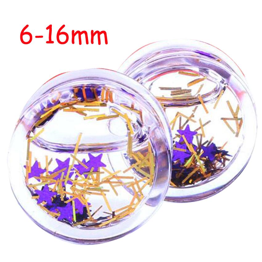 1Piece 6-16mm Flower Star liquid ear tunnel purple star Clear Flesh Tunnel Transparent Ear Plugs Expander - Sun Supply Co.,Ltd store