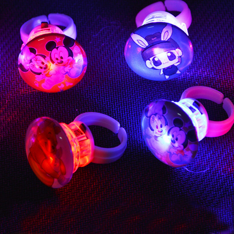 Cool Kids Cartoon LED Flashing Light Finger Rings Blinking Party Soft Light Up Glow Crystal Rings(China (Mainland))