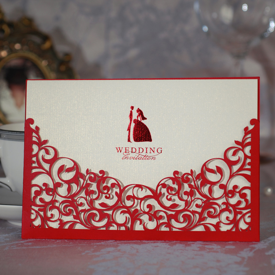 Wholesale 50pcs Lot Red Hollow Flower Laser Cut Wedding Invitation Card With Envelopewedding