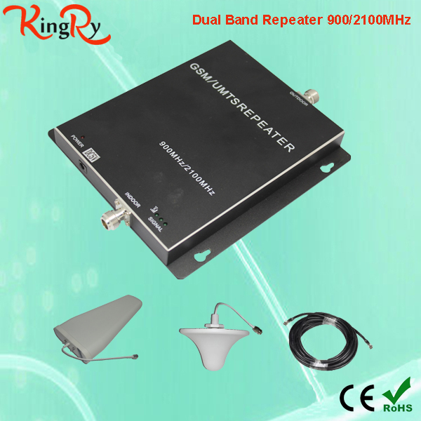 Free shipping GSM Repeater 3g Booster dual band AGC MGC Function 900 2100 Amplifier 70db GSM WCDMA Repeater kit(China (Mainland))