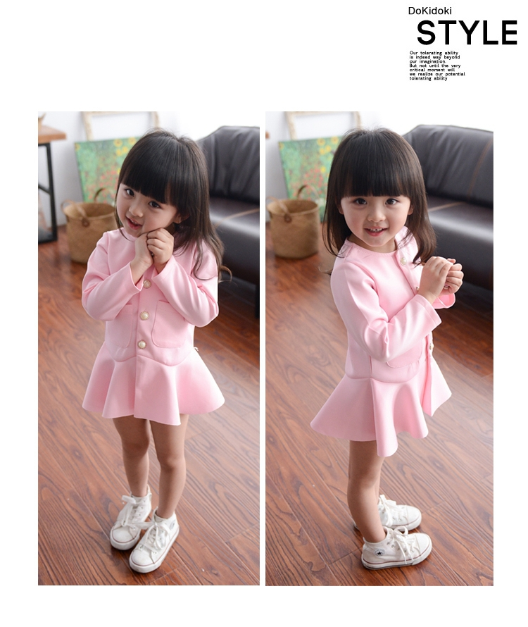 2015New Brand Childs  Summer Autumn Dress Solid Color Dresses Pink Korean Style Girls Dress Lovely Child 80-135cm 3T-8T 54A<br><br>Aliexpress