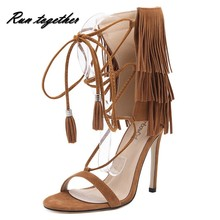 New summer fashion tassel women high heels sandals shoes woman party wedding gladiator pumps ankle strap suede leather shoes