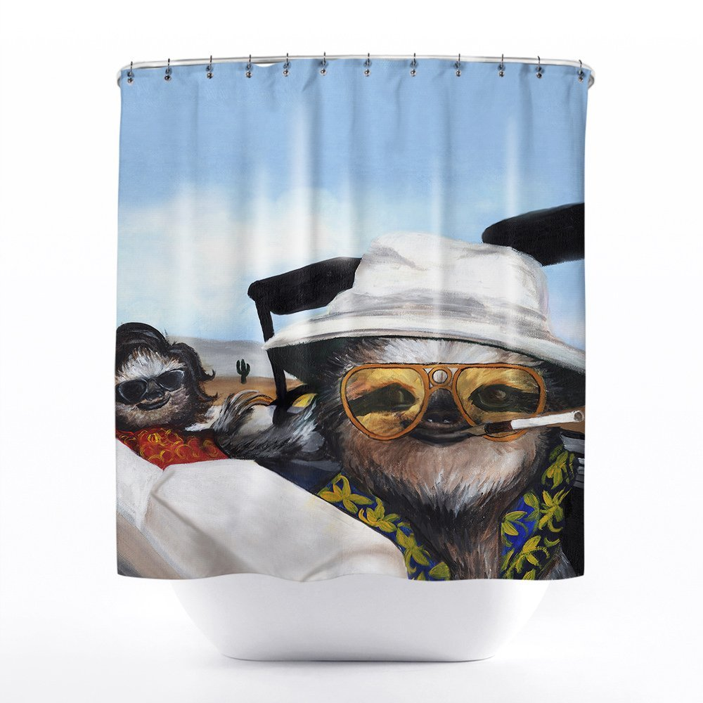 Funny sloth custom waterproof fashion shower curtain 60 x for Funny shower curtains