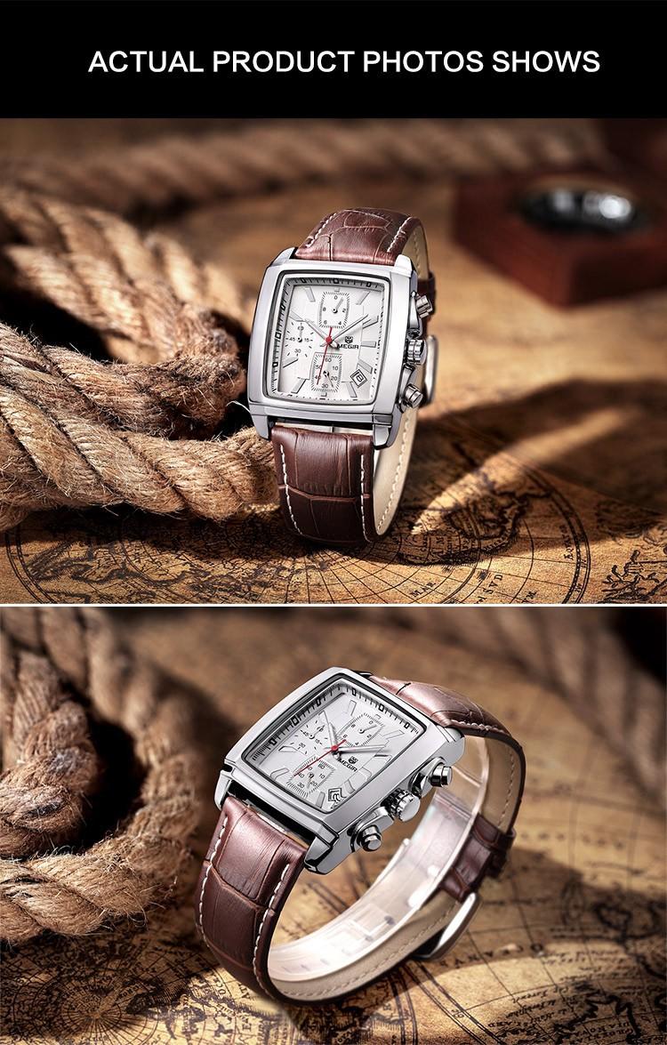 Удобные наручные мужские кварцевые часы  Megir с роскошным кожаным ремешком. Бесплатная доставка. 2028