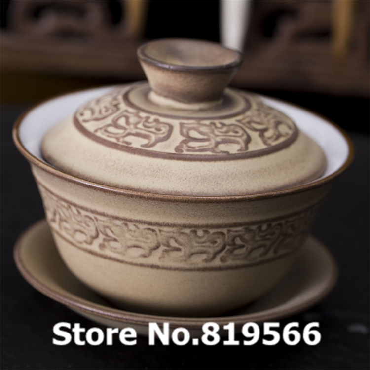 New Chinese Pottery Ceramic Kung Fu Gaiwan cup 150ml Porcelain Tea Cups Bone China Set Drinkware