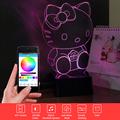 Novelty USB Bluetooth Speaker Hello Kitty Music Nightlight Smart Phone Controller 3D Table Lamp for Child