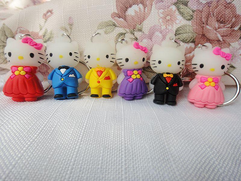 1pcs Cartoon hello kitty style modeling Keychain Ring Keyring Key Chain Creative Birthday Gift free shipping(China (Mainland))