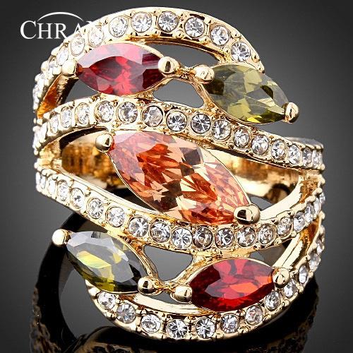 CHRAN Elegant Gold Plated Lovely Crystal Womens Jewelry Promotion Ladies Gifts Luxury Imitation Diamond Zircon Wedding Rings