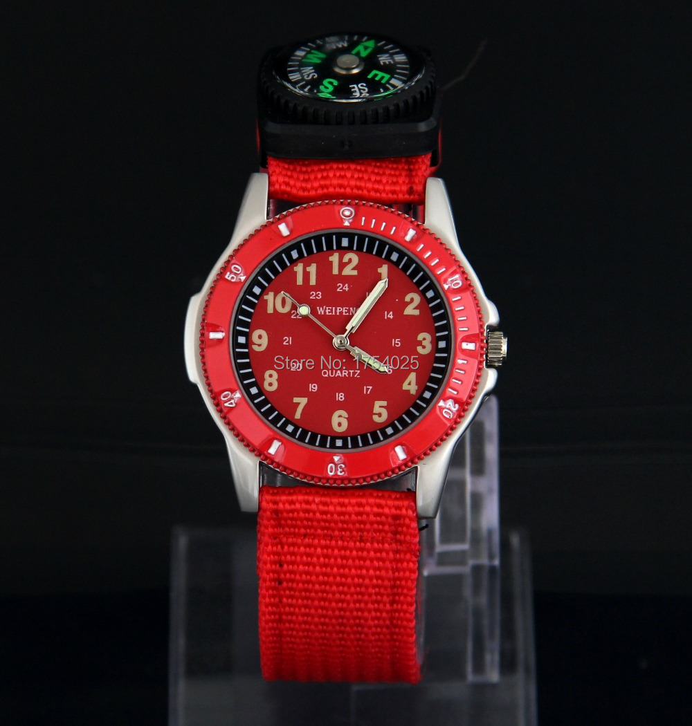 High quality Men's watch red fashion sports compass steel runners Necessary Nylon(China (Mainland))