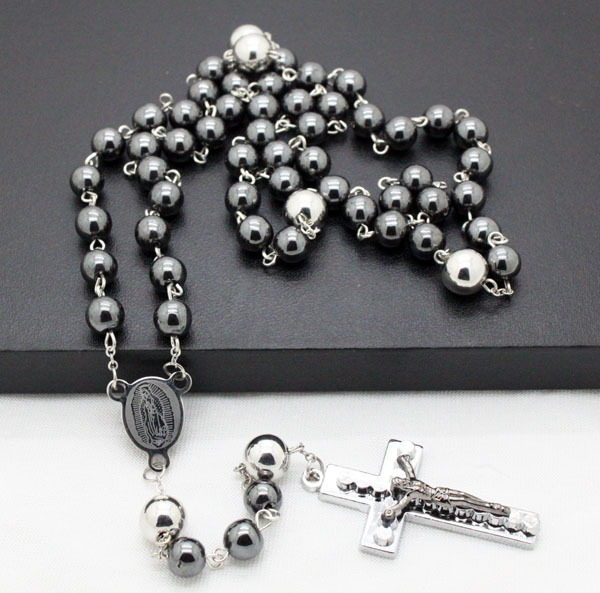 men jewelry newest design hematite semi-pricious beads stainless steel cross rosary necklaces high quality free shipping(China (Mainland))