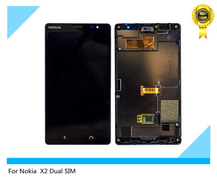 Черный ~ сенсорный экран жк-дисплей монтажный комплект рама для nokia x2