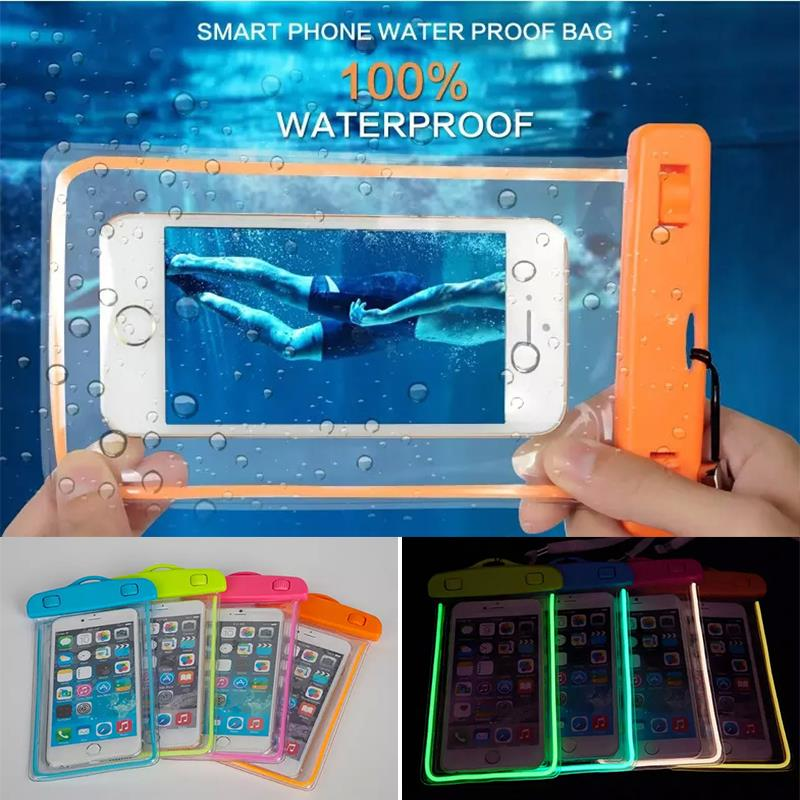 Swim Waterproof Bag Underwater Luminous Case For Samsung GALAXY NOTE 5 4 3 2 A5 A7 J5 J7 Back cover For iphone 6S 6splus 7 Plus