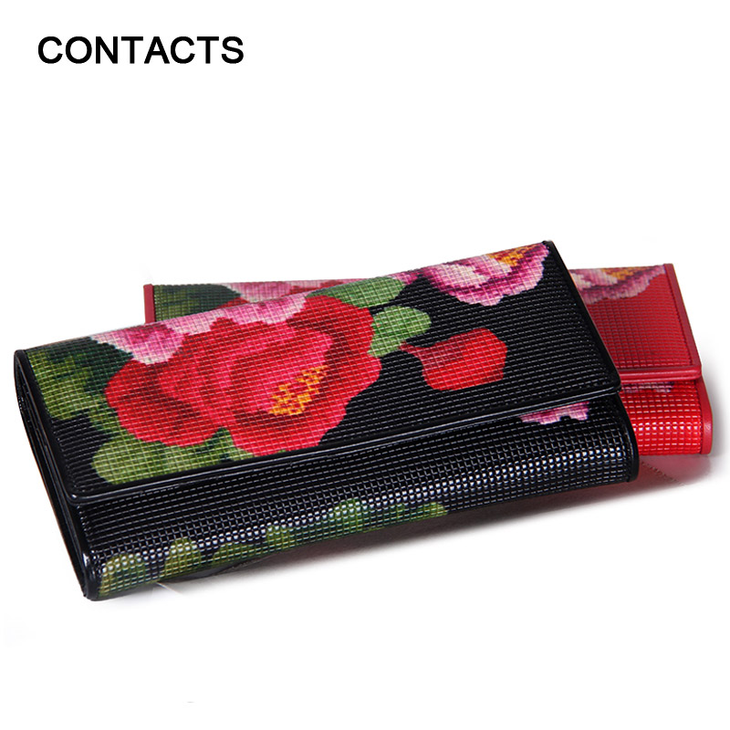 2016 New Arrival Women's Wallet Genuine Leather Floral Print Tri-fold Long Ladies Purses With Zipper Coin Pocket Card Holder Bag(China (Mainland))