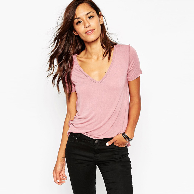 Fashion Slim Summer Basic T Shirt Solid Pink Short Sleeve