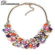2015 fashion water drop colors rhinestone necklace trendy statement collar necklace women jewelry 9005(China (Mainland))