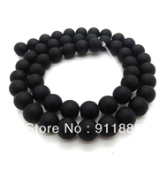 Wholesale 5 strands/lot 6mm Natural Black Frosted Onyx Precious Stone Loose Beads For Bracelet Necklace Making,Free Shipping