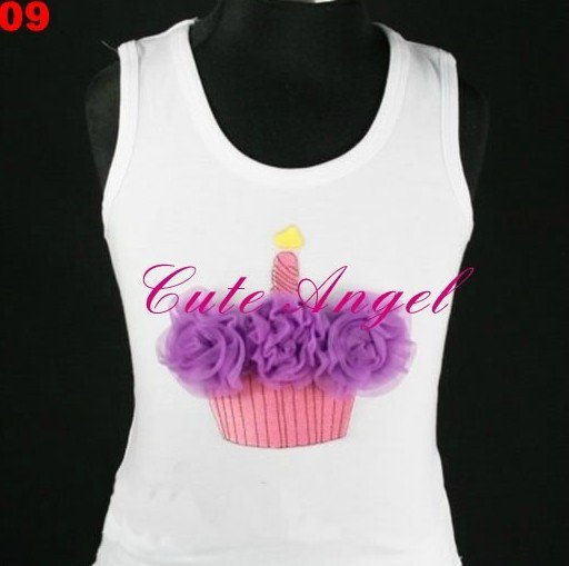 Free shipping  Birthday Cupcakes & Ice Cream Cones Shirts T Shirt match with Pettiskirts 5pcs/lot can choose 1 color