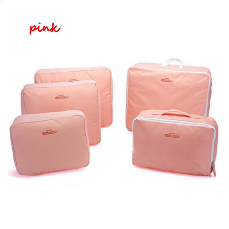 Free Shopping 5Pcs Waterproof Clothes Storage Bags Set Cube Travel Home Organizer Pouch Coffee different Storage Bags Hot Sale(China (Mainland))