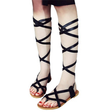 Vintage Gladiator Sandals Women Flat Flip Flops Lace Up Strappy Sandals Summer 2016 Sandalias De Gladiador De Las Mujeres Sapato(China (Mainland))