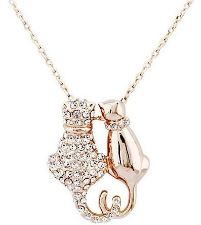 JS N065 Lovely Couple Cat Necklace Gold Silver Pendant Womens Fashion 2014 Animal Jewelry Cute Collares - Yiwu Crystal Manufacturer(200USD Free DHL store)